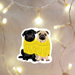 Pug Dog Sticker   Dog Illustration   Custom Pet Sticker   Dog Themed Gift   Fun Stickers