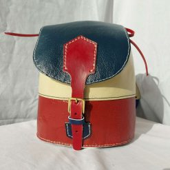 Red, white and blue rucksack, small leather single strapped backpack, drawstring bag