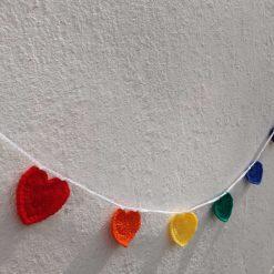 Rainbow Hearts Garland Crochet