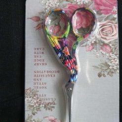 Stork Small Flower Patterned Embroidery/Knitting/Crochet Scissors