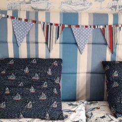 Bunting. Blue boats, stripes and polka dots. Seaside, nautical, coastal theme