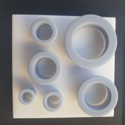 Set of 6 3D printed circle clay cutters, assorted sizes.