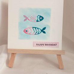 Birthday card, fish--- flowers