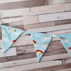 Bunting.  Rainbows and clouds print.