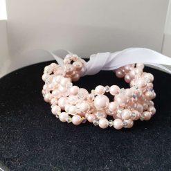 Wedding hairbun wrap pink