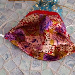 Luxurious triple layer silk face mask. Oriental red flower