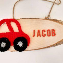 Car Door Sign - Wooden & Crochet - Custom