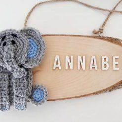 Elephant Door Sign - Wooden & Crochet - Custom
