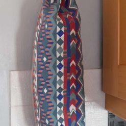 Recycling carrier bag holder. Kitchrn/housewarming gift. Red, orange, blue, green print.