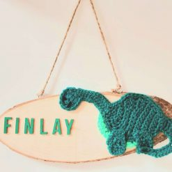 Dinosaur Door Sign - Wooden & Crochet - Custom