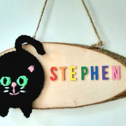 Black Cat Door Sign - Wooden & Crochet - Custom