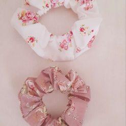 Hair scrunchies. Set of 2.  Pink vintage flowers