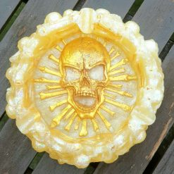 Cream and gold skull ashtray/trinket dish