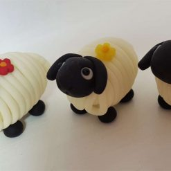 Mini sheep with flower - glow in the dark - ornament - decoration - gift - cake topper