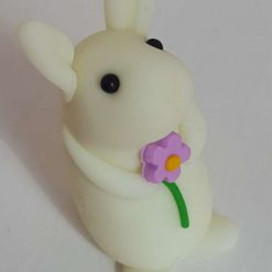 Mini bunny with single flower - glow in the dark - ornament - Valentine - Easter - rabbit - cake topper - birthday - thank you
