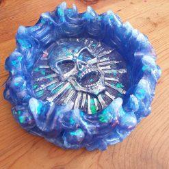 Resin skull trinket dish - Blue