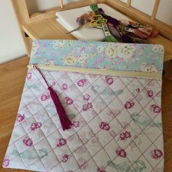 Zippered Project Pouch / Bag - Small Floral Fuschia