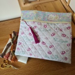 Zippered Project Pouch / Bag - Small Floral Cream
