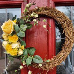 Artificial silk flowered door wreath 35cm