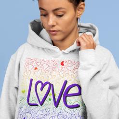 Love Rainbow Hearts - Hoodie choose loose fit or college hoodie