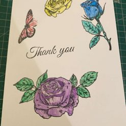 Hand printed and coloured thank you card