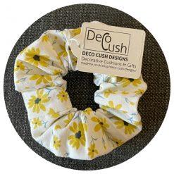White, Yellow, Blue and Black Handmade Hair Scrunchie