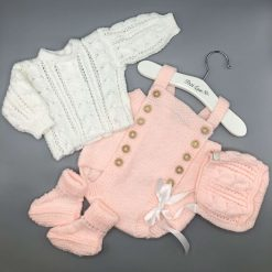 ** SOLD ** Adorable hand knitted Baby Girls pale pink and white 4 piece outfit
