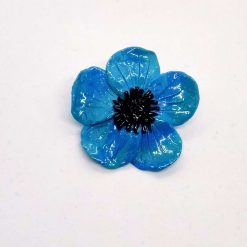 Ooak handmade turquoise blue polymer clay poppy brooch