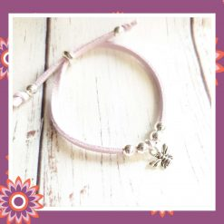 Childrens Childs Lilac Suede Cord Bee Charm Perfect Gift or Present FREE UK SHIPPING
