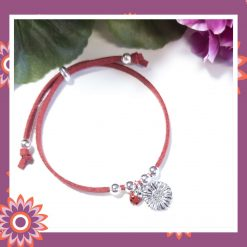 Childrens Childs Red Suede Cord Bracelet with Sunflower and Ladybird Charms Perfect Gift Present FREE UK SHIPPING