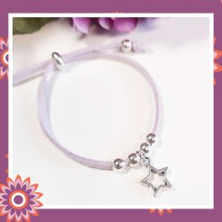 Childrens Childs Lilac Suede Cord Bracelet with Star Charm Perfect Gift or Present Free UK Shipping