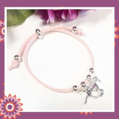 Childrens Childs Pink Suede Cord Bracelet with Horse Charm Perfect Gift or Present Free UK Shipping