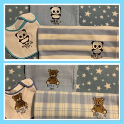 Embroidered Baby Blanket, Muslin Square and Bib Set