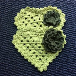 Set of 2 Crochet Heart coasters with flower. (Copy)