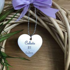 Personalised engraved metal heart