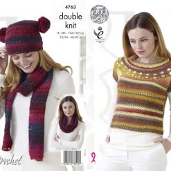 King Cole - Crochet Pattern - Top with Yoke Plus Accessories