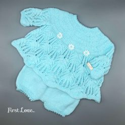 Adorable Baby Girls hand knitted dress with pants