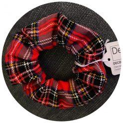 Red Tartan Handmade Scrunchie, Cotton Fabric, Comfortable Hair Accessory