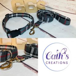 Grey - black tartan pattern XS-XXL - Dog Collar, Dog Collars, Puppy Collars, leads and accessories (Copy)