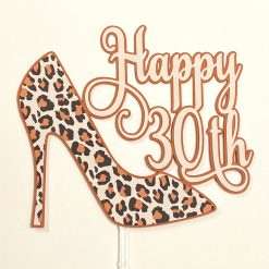 Orange/Brown Leopard Print Shoe Cake Topper