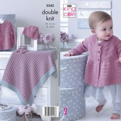 King Cole - Knitting Pattern - Matinee Jacket, Hat, Bootees & Blanket