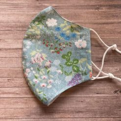 'Light Blue Spring Flowers' Panel Style Face Covering, 100% Cotton, Reusable