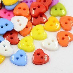 Acrylic Heart Buttons 12mm 40 per bag