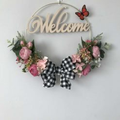 Gold hoop wreath with rose pink flowers and gingham bow