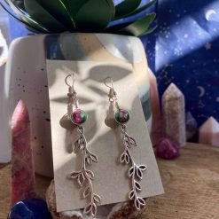 Ruby Zoisite leafy earrings