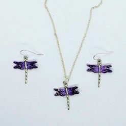 Purple dragonfly pendant and earrings set