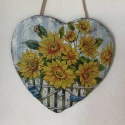Sunflower slate heart