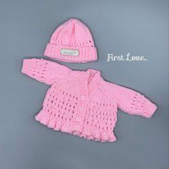 Premature Baby Girls cardigan and hat