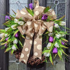 Purple & Cream Faux Tulip Willow Wreath 48cm