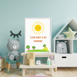 Nursery Child's room 'Your Smile is my Sunshine' Art Quote Original A4 Digital Download